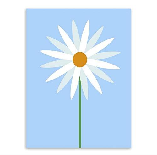 Knncch Moderne Minimalistische Schönheit Sun Flower Leinwand Malerei Kunst Poster Und Drucke Wandbilder Für Mädchen Zimmer Dekoration,40X60Cm