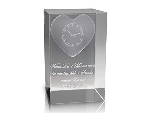 VIP-LASER 3D Glaskristall Quader XL 3D Herz mit Uhr und Text Wenn Du 1 Minute nicht bei mir bist, fehlt 1 Stunde meines Lebens! Ich liebe Dich! graviert -