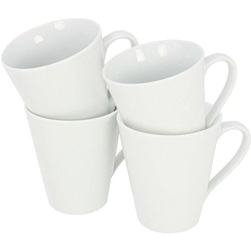 com-four® 4x Kaffeebecher aus Porzellan - Kaffee-Tasse im zeitlosen Design - Kaffeepott für Tee und Glühwein - 250 ml je Tasse