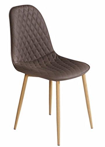 PEGANE Chaise en Tissu Grise avec Pieds en Bois - Dim : L 45 x P 54 x P 85 cm
