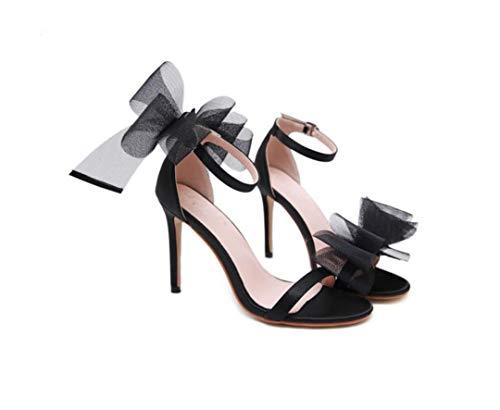 NBWE AZ Sexy Big Bow Damenschuhe, Wortschnalle, Mesh, Satin Sandalen, europäischen und amerikanischen Stil Black Satin Bow Sandals