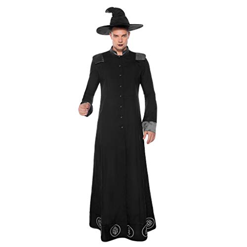 Herr Dressup Kostüm - SilenceID Herren Halloween Cosplay Zauberer Mittelalter Kostüm Party Halloween Tunika Dress Up