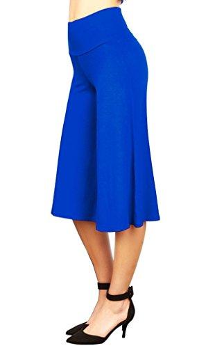 Smile YKK Pantalon Droit Femme Jambe Large Taille Haute Soirée Bal Danse Casual Eté Lâche Mode Bleu