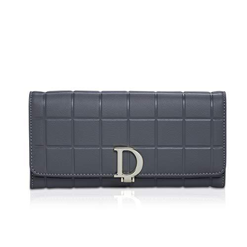 NICOLE & DORIS Portafoglio lungo donna, porta carte di credito, fessure per carte multiple, grande capacità, pelle di vacchetta