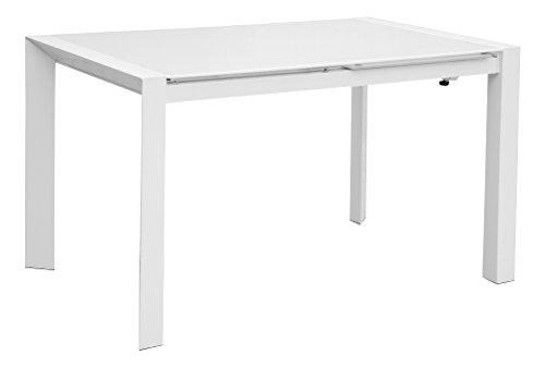 Cribel Seller Tavolo, Metallo Laccato, Vetro temperato, Bianco, 122x80x75 cm