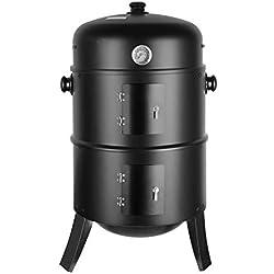 femor Barbecue Fumoir Smoker, 3 en 1 Multifonctions BBQ Grill à Charbon, Thermomètre Inclus, avec Accroches, 3 Grilles Grande Capacité, pour Cuisson en Plein air, Fête, 80X44,5cm, 16 Pouces