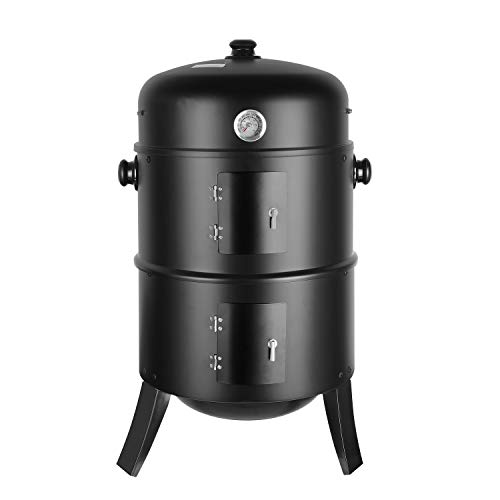 femor Barbecue Fumoir Smoker, 3 en 1 Multifonctions BBQ Grill à Charbon, Thermomètre Inclus, avec...