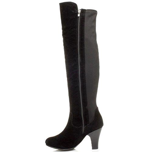 Donna tacco alto blocco elastico cavallerizzo stivali sopra il ginocchio taglia Scamosciata nera