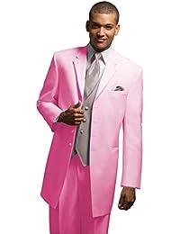 mys Hombre Justo lo Novio Larga Boda Smoking Traje pantalón Chaleco Corbata  Juego Color Rosa b9509d2ee3f