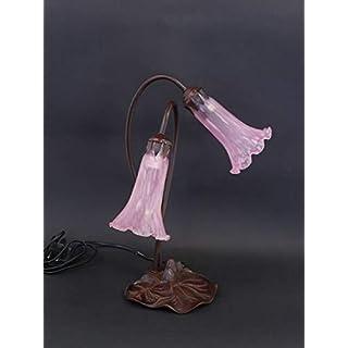 Antike Fundgrube Tischlampe Leuchte Lampe Metallständer Rosa schimmerndes Glas 2-flammig (8521)