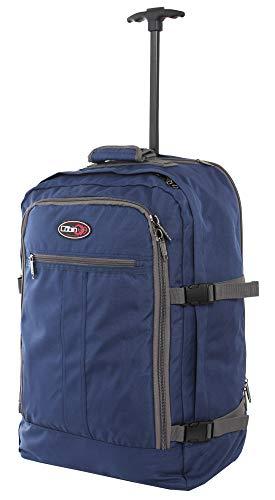 CABIN GO cod. MAX 55 Trolley-Rucksack/leichte Reisekabine - 55 x 40 x 20 cm, 44 Liter - mit Rollen IATA/EasyJet/Ryanair Flug 5520 Blu/Grigio Tetto Curvo