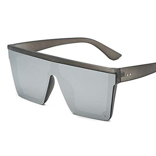 GY-HHHH Klassisches Retro-Outdoor-EssentialHerren Flat Top Sonnenbrille Herren Marke Black Square Shadow UV400 Gradient Sonnenbrille Herren Designer_Silver 1