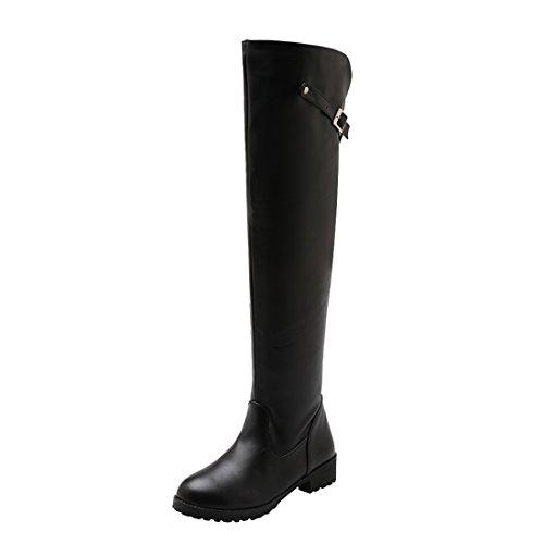 UH Damen Flache Overknee Stiefel Gefüttert Lange Boots mit Schnalle Bequeme Warm Herbst Winter Schuhe