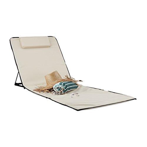 faltbare strandliege Relaxdays Strandmatte, gepolsterte Sonnenliege mit Kopfkissen, Verstellbare inklusive Tragetasche Strandliege Deluxe XXL, Beige, 72x49,5x35 cm