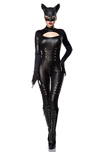 Catwoman Kostüm Superheld (Sexy Catwoman Kostüm Cat Woman Superheld Held Heldin Schwarz Set Karneval S-3XL,)