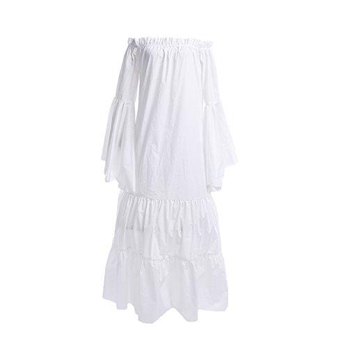 NSPSTT Damen Boho Mittelalter Baumwolle Kleid Langarm Vintage Nachthemd Weiß