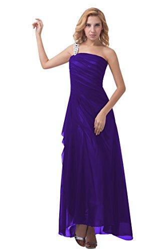 Bridal_Mall - Robe - Trapèze - Sans Manche - Femme Violet - Violet foncé
