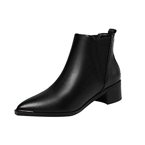uirend Chaussures Bottes Bottines Femme - Boots Chelsea Cheville élastiqué Arrondi Simili Cuir Petit Talon Carré