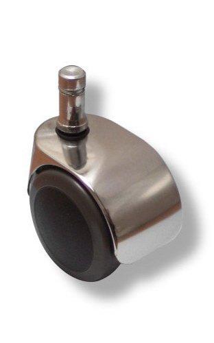 hjh OFFICE 619016 5x Design-Rollen verchromt für Hartböden 11 mm / 50 mm Büro-Stuhl-Hartbodenrollen, Spezial Luxuxs Rollen für Hartboden, nach Normen DIN EN 12528 und DIN EN 12529