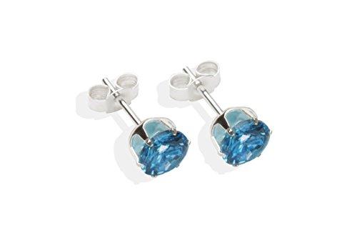 En argent Sterling 925 avec zircones cubiques 6 mm GoldStudEarrings Clous d'oreilles Boîte cadeau London Blue