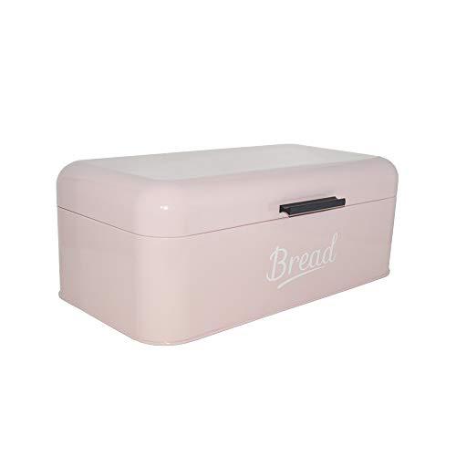 Brotkasten Metall   Brotbox   Brotkiste   Aufbewahrungsbox   Brotbehälter   Brotkiste   Frischhaltebox   Küche   Hochwertig verarbeitetes Metallblech   Großer Stauraum   16,5x42x23cm (L/B/H)   Rosa