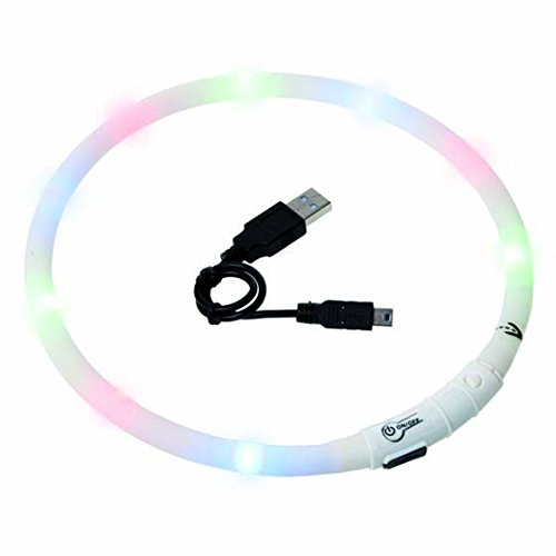 Visio Light - LED Halsband Hundesicherheit Hunde Leuchthalsband Innovation: ohne Batterien -universell kürzbar -Weiß -