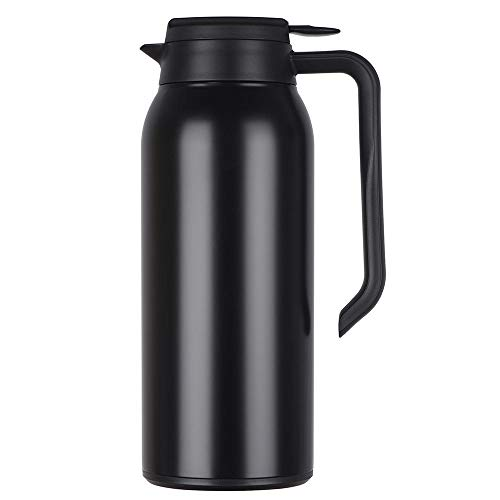 AHLHYJ Thermoskanne 304 Edelstahl Doppelwand Vakuum Isolierte Kaffee Topf Kaffee Thermos, Kaffee Plunger,schwarz_1.5L -