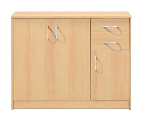 Kommode Sideboard Mehrzweckschrank   Dekor   Buche   3 Türen   2 Schubladen