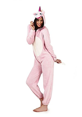 Loungeable Damen Jumpsuit Overall Tiere Gesichter Öhrchen 3D Kapuze Unicorn Pink 3D All In One 79666/79766 ()