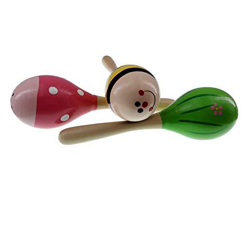3 Tlg. 20 cm Lang Holz Rasseln Shaker Musical Spielzeug für Kinder, Zufällige Farbe Muster ()