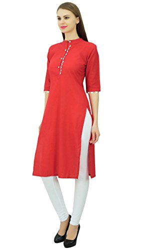 Phagun Coton uni Kurti Designer Tunique Mandarin Collar ethnique Casual Kurta Chemisier Rouge