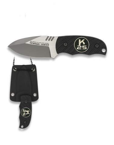Cuchillo K25 G10 con Funda kydex 12,4 cm para Caza, Pesca, Camping, Outdoor, Supervivencia y Bushcraft K25 32331 + Portabotellas de regalo