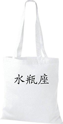Sacchetto Di Stoffa In Cotone Tinto A Mano Borsa In Cotone Aquarius Caratteri Cinesi, Vari Colori Bianco