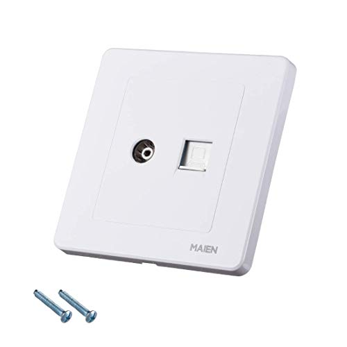ZCHXD Wall Plate RJ45 Computer TV Socket Outlet Mount Face Plate White -