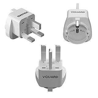 VGUARD UK Adapterstecker, [3 Stück] Reisestecker Travel Adapter Konverter für 3 Pin Schweiz/Italien, 2 Pin EU/USA/China/Japan/Australien/Kanada Stecker auf UK 3 Pin Buchse - Weiß
