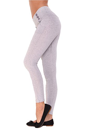 Damen Urban Skinny Röhre Leggins Treggings Jeggings Leggings Hose Reiterhose Optik Gr. XS S M L XL2XL Grau Meliert