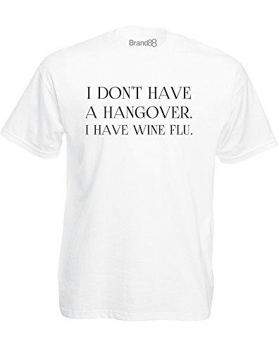Brand88 - Wine Flu, Mann Gedruckt T-Shirt Weiß/Schwarz