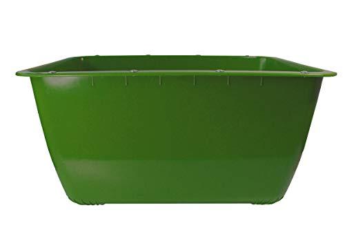 200 Liter 2. Wahl Mörtelkübel GRÜN (Fehlfarben), Mörtelwanne, Blumenkübel, Wasserbehälter, Futtertrog, Wildwanne, Futterwanne mit Stahlschiene zur seitlichen Verstärkung