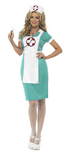 Smiffys 25870X1 - Damen Krankenschwester Kostüm mit eingenähter Schürze und Kopfbedeckung, Größe: 48-50, grün