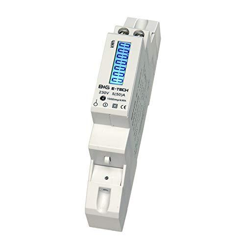 B+G E-Tech DRS155B - LCD digitaler Wechselstromzähler Stromzähler Wattmeter 5(50) A für Hutschiene mit S0 Schnittstelle 1000imp./kWh Digitale Stromzähler