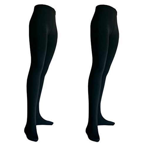 2er Pack Damen Thermo Strumpfhosen mit Innenfleece | blickdicht | schwarz 38-4 -