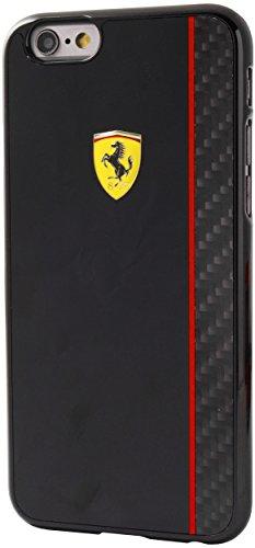 Ferrari FECBSHCP6BK Scuderia glänzend Harte Schutzhülle mit Echt-Carbon Plattenstreifen für Apple iPhone 6/6S 11,9 cm (4,7 Zoll) schwarz