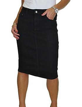 ICE Falda de los vaqueros del estiramiento, lavado liso, negro 40-50