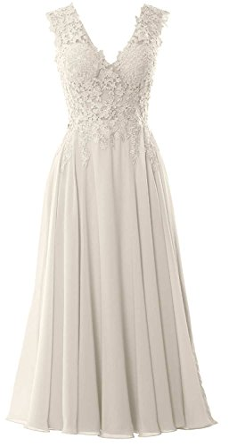 MACloth Gorgeous Tea Length Prom Homecoming Dress V Neck Formal Evening Gown Ivoire