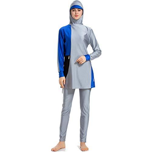 Heligen Damen Badeanzug Muslim Badeanzug Nahöstlich bescheidener Badeanzug 3 Stück Frauen Muslim Badeanzug mit Kappe, einfarbig, Badeanzug Beachwear 4XL 1 Grey