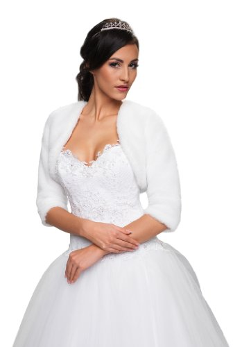 Bolerojäckchen Braut Jacke Bolero aus künstlichem Fuchspelz mit 3/4 länger Ärmel mit Kragen,...