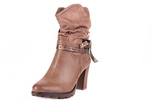 Designer Damen Schuhe Herbst Winter Warm gefütterte Boots Wedges Biker Boots Stiefel Stiefeletten Schlupfstiefel Halbschaft Stiefel mit Reißverschluss Khaki