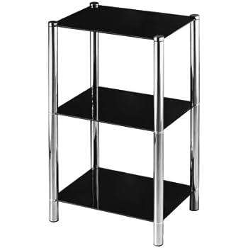 premier housewares 3tier shelf unit with black glass shelves and chrome frame 70