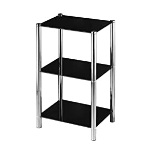 Premier Housewares 3-Tier Shelf Unit with Black Glass Shelves and Chrome Frame, 70 x 41 x 31 cm