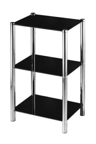 Premier Housewares Regal, 3-stöckig, Ablagen aus schwarzem Glas, Chrom-Rahmen, 70 x 41 x 31 cm